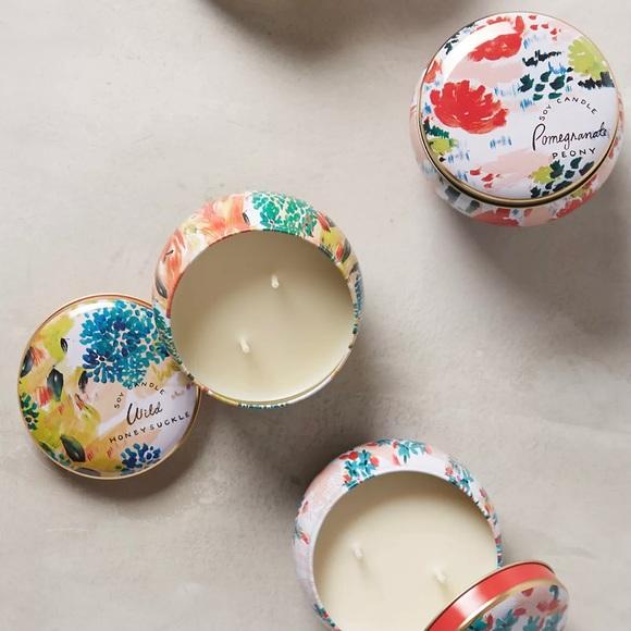 Anthro Spring's Eden Wild Honeysuckle Tin Candle